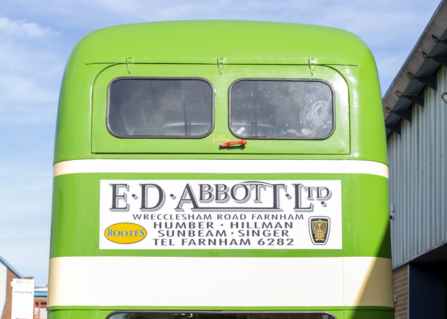 Abbotts bodied bus shows period Abbotts advert