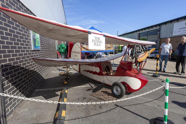 Flying Flea replica outside Abbott Baynes factory, Farnham, Surrey.