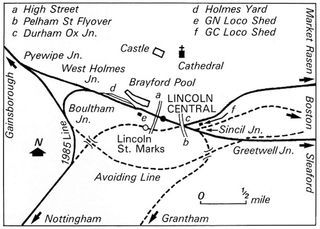 Lincoln railway map