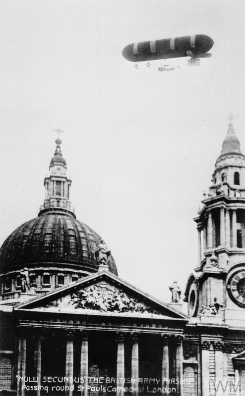 The Airship Nulli Secundus I, circling St Paul's Cathedral in London