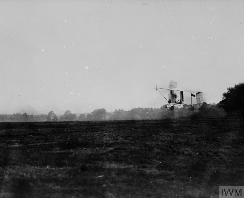 S F Cody making the first sustained powered flight in British Army Aircraft Ia over Laffan's Plain near Farnborough